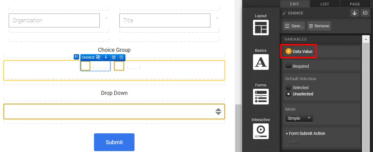 Form > Choice Group > Choice - Data Value