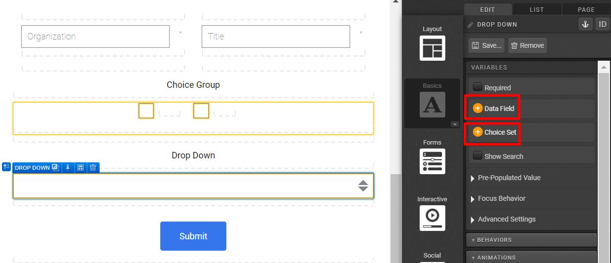 Form > Drop Down - Choice Set